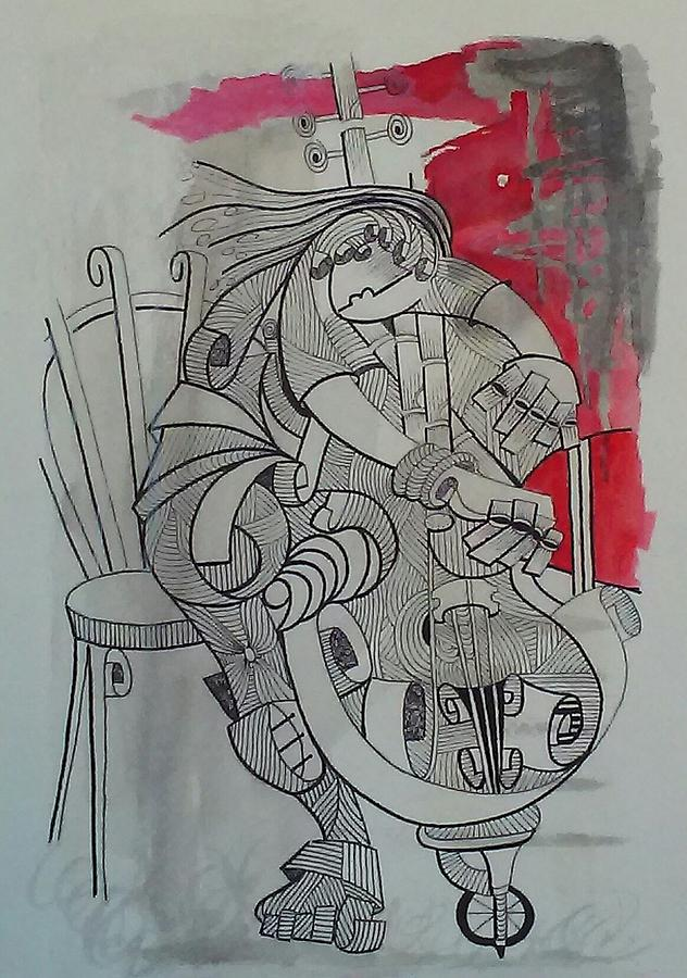 Cellist 01 Mixed Media by Gonzalo Borges