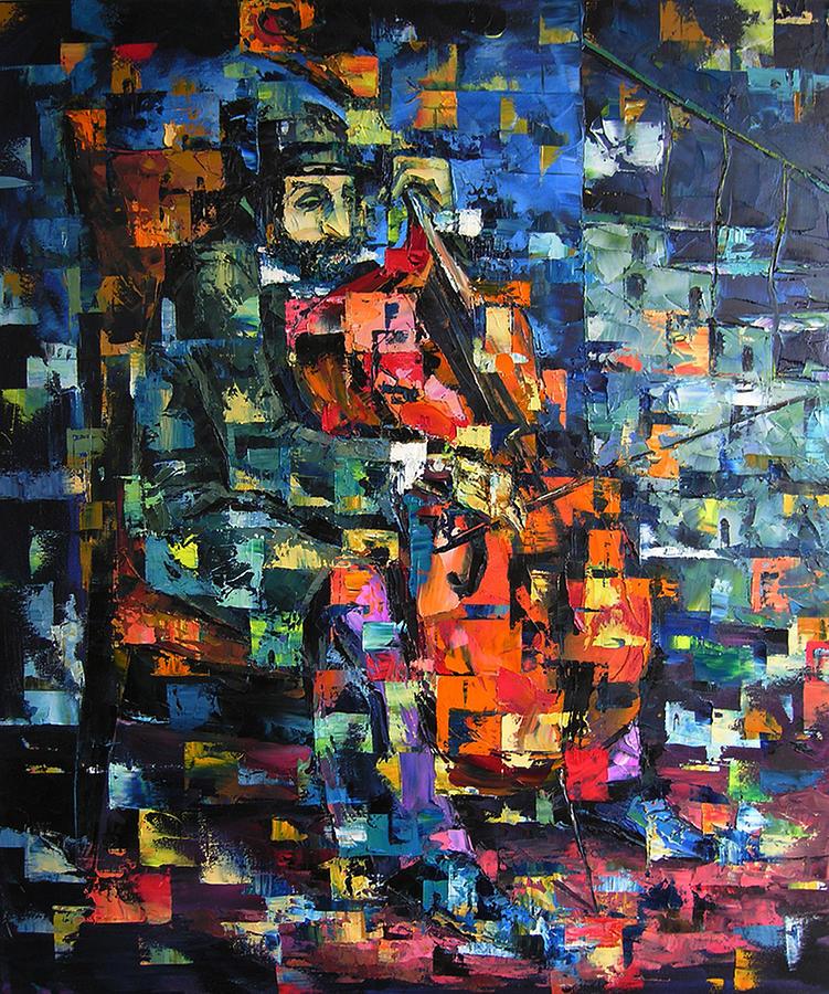 Cellist Painting by Keren  Gorzhaltsan