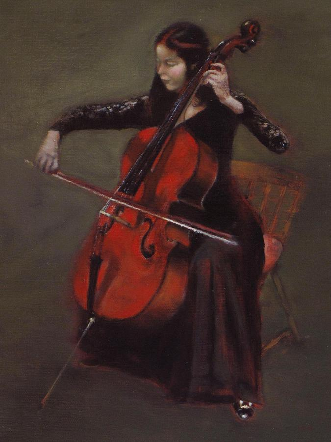 Young Lady Painting - Cello Player by Takayuki Harada