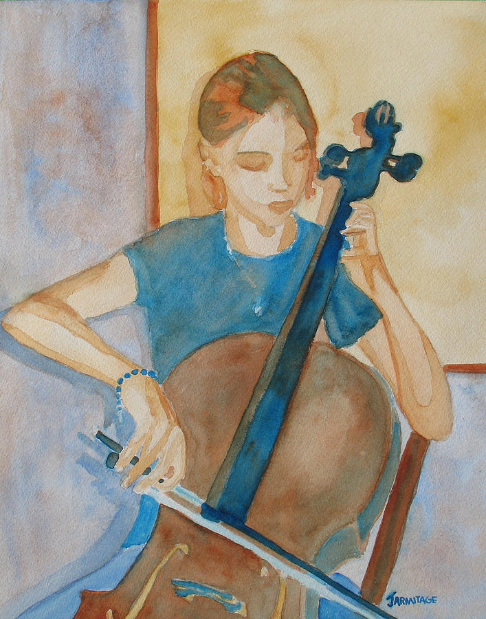 Girl Painting - Cello Practice Iv by Jenny Armitage