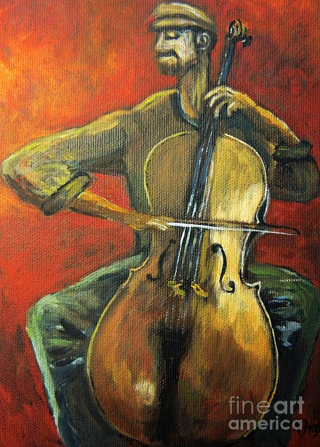 Cello Painting - Cello by Reb Frost