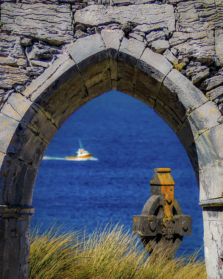 10th Century Photograph - Celtic Cross And Fishing Vessel From Isle Of Inisheer by James Truett