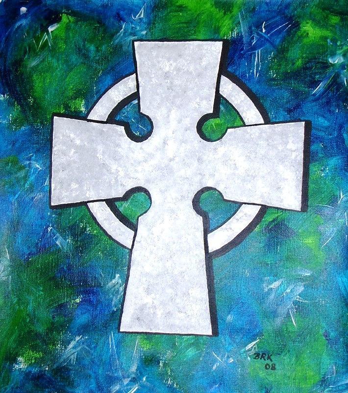 Cross Painting - Celtic Cross by Bo Klinge