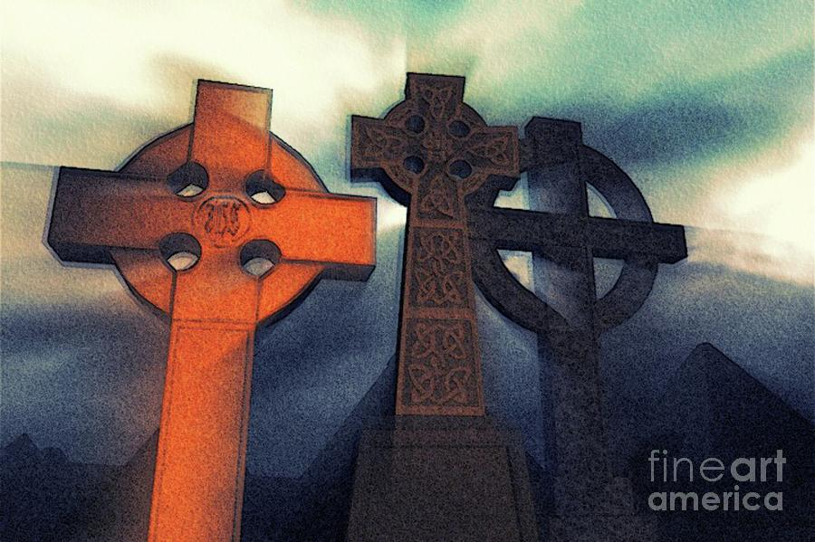 Celtic Painting - Celtic Cross Mystery by Sarah Kirk