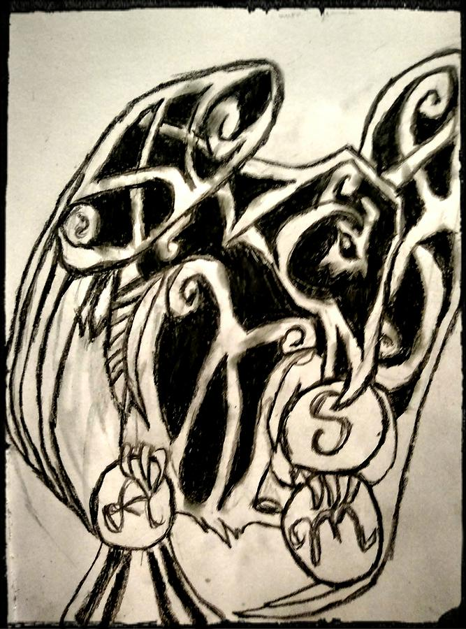 Crows Drawing - Celtic Crow by Shylee Charlton