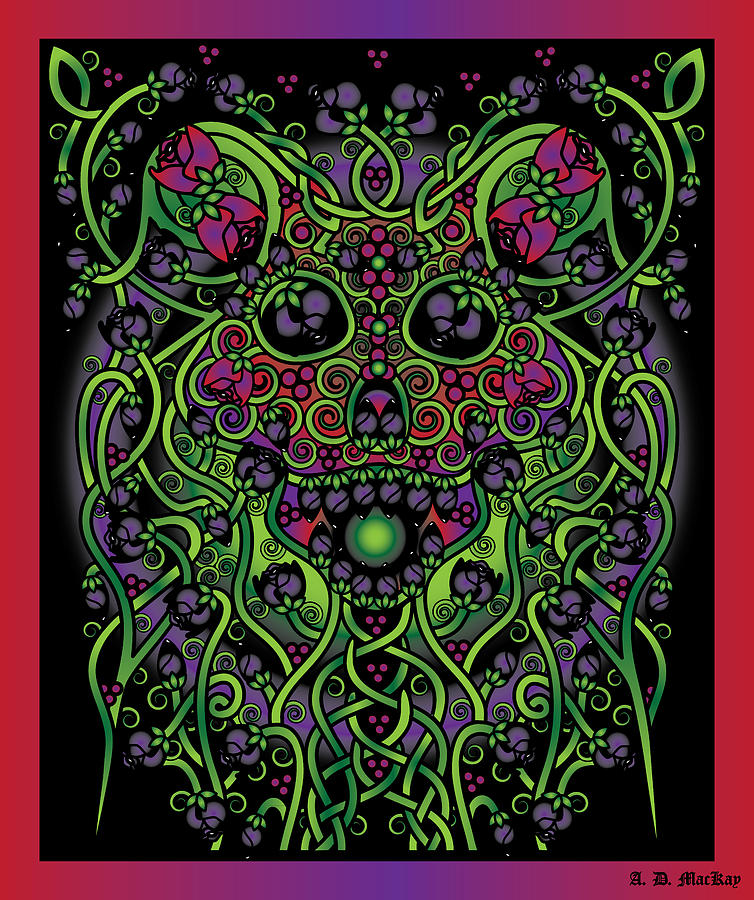 Celtic Digital Art - Celtic Day Of The Dead Skull by Celtic Artist Angela Dawn MacKay