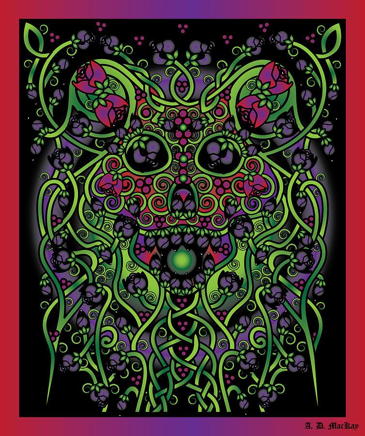 Celtic Digital Art - Celtic Day of the Dead Skull by Celtic Artist Angela Dawn MacKay