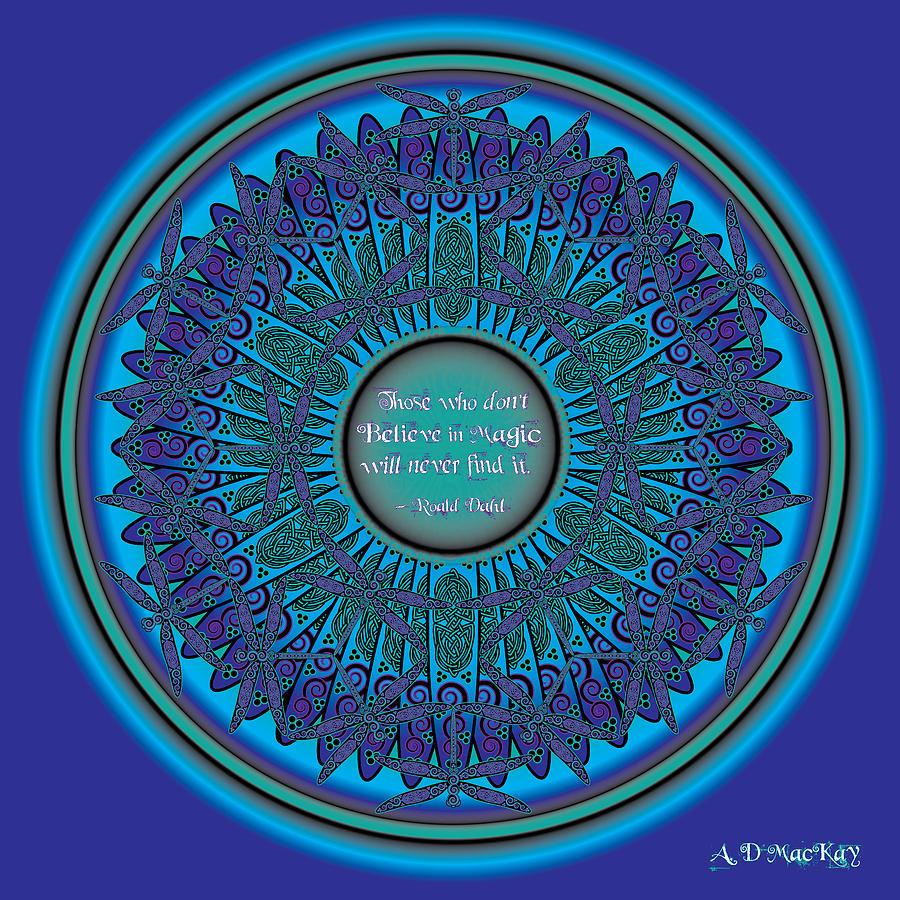 Dragonfly Digital Art - Celtic Dragonfly Mandala by Celtic Artist Angela Dawn MacKay