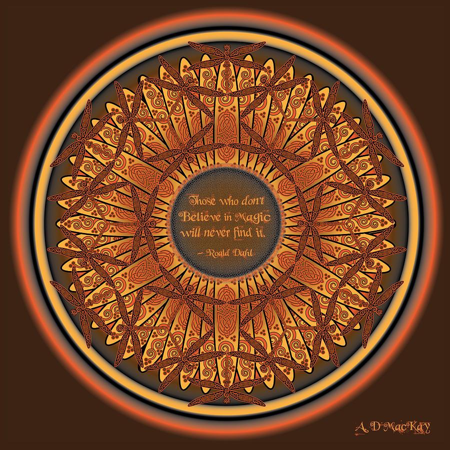 Dragonfly Digital Art - Celtic Dragonfly Mandala In Orange And Brown by Celtic Artist Angela Dawn MacKay