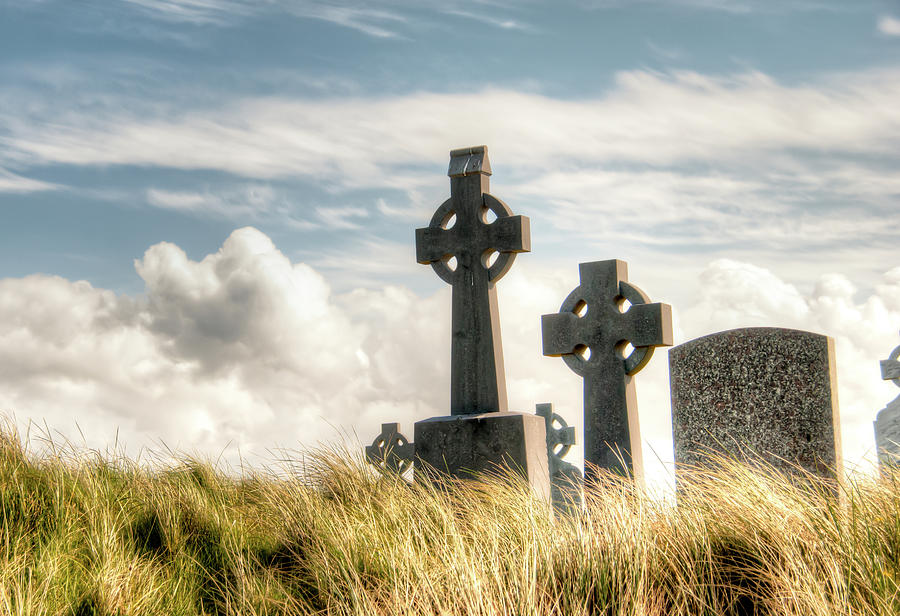Aran Islands Photograph - Celtic Grave Markers by Natasha Bishop