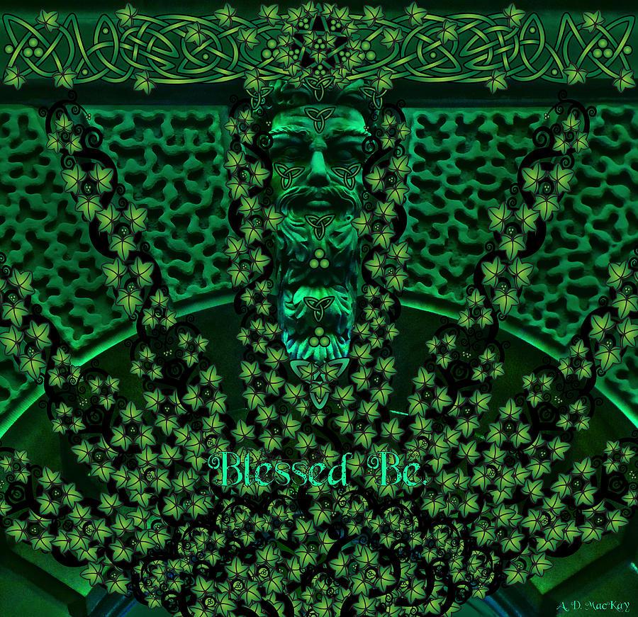 Celtic Digital Art - Celtic Green Man by Celtic Artist Angela Dawn MacKay