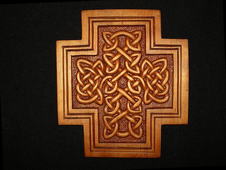 Celtic Sculpture - Celtic Knotwork Cross Plaque by Shane  Tweten