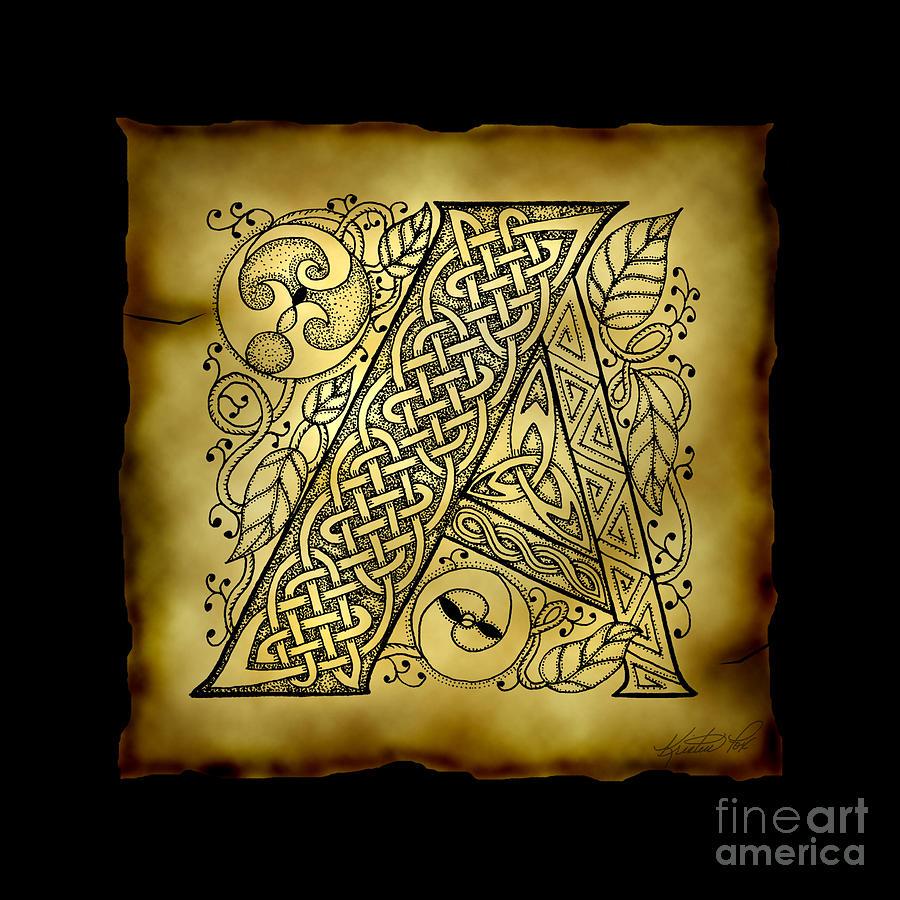 celtic letter a monogram mixed media by kristen fox