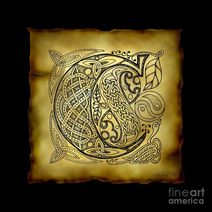Celtic Letter C Monogram Mixed Media By Kristen Fox