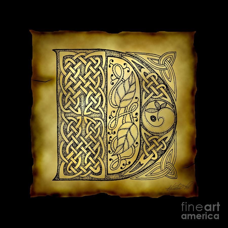 Celtic Letter D Monogram Mixed Media by Kristen Fox
