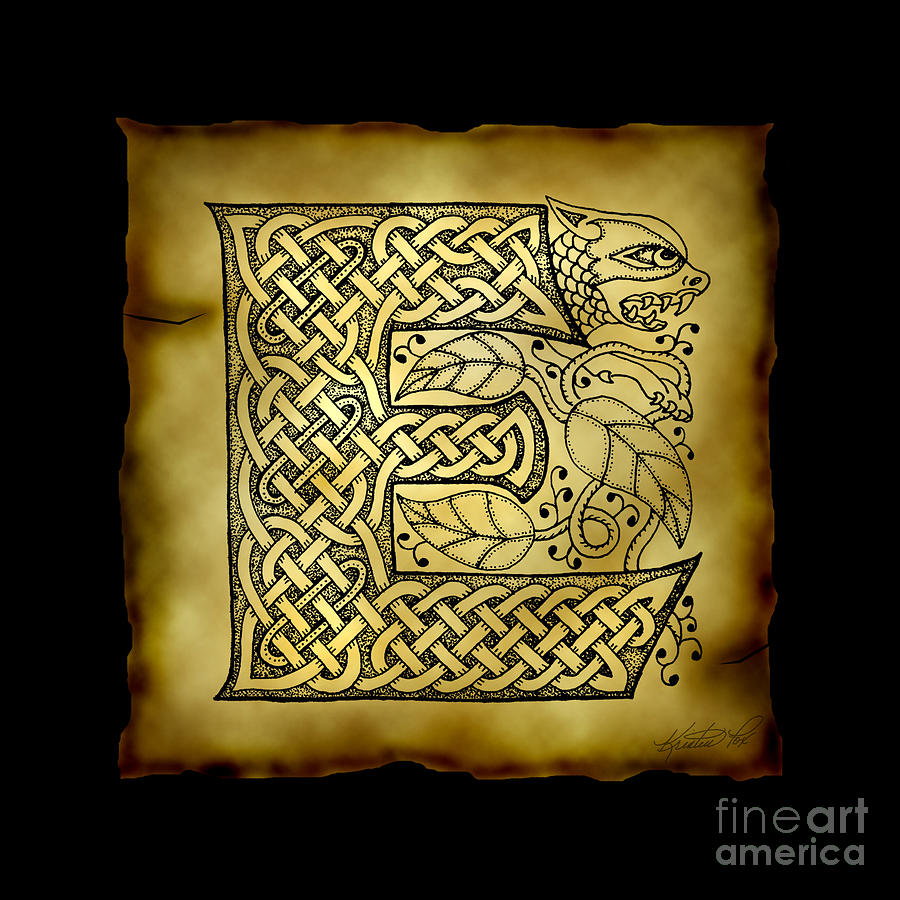 celtic letter e monogram mixed media by kristen fox