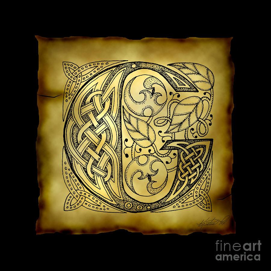 Celtic Letter G Monogram Mixed Media by Kristen Fox