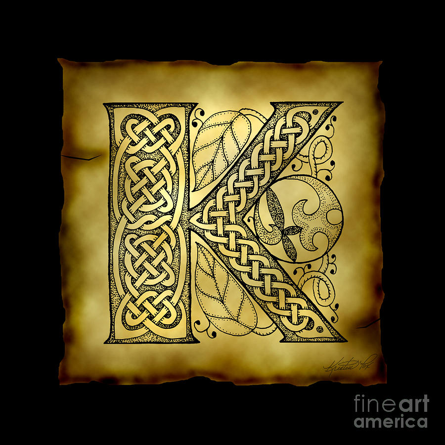 Celtic Letter K Monogram Mixed Media By Kristen Fox