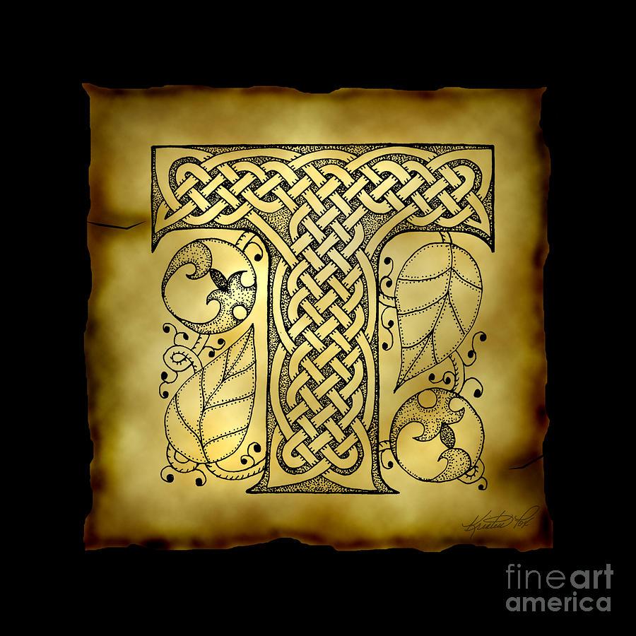 Celtic Letter T Monogram Mixed Media By Kristen Fox