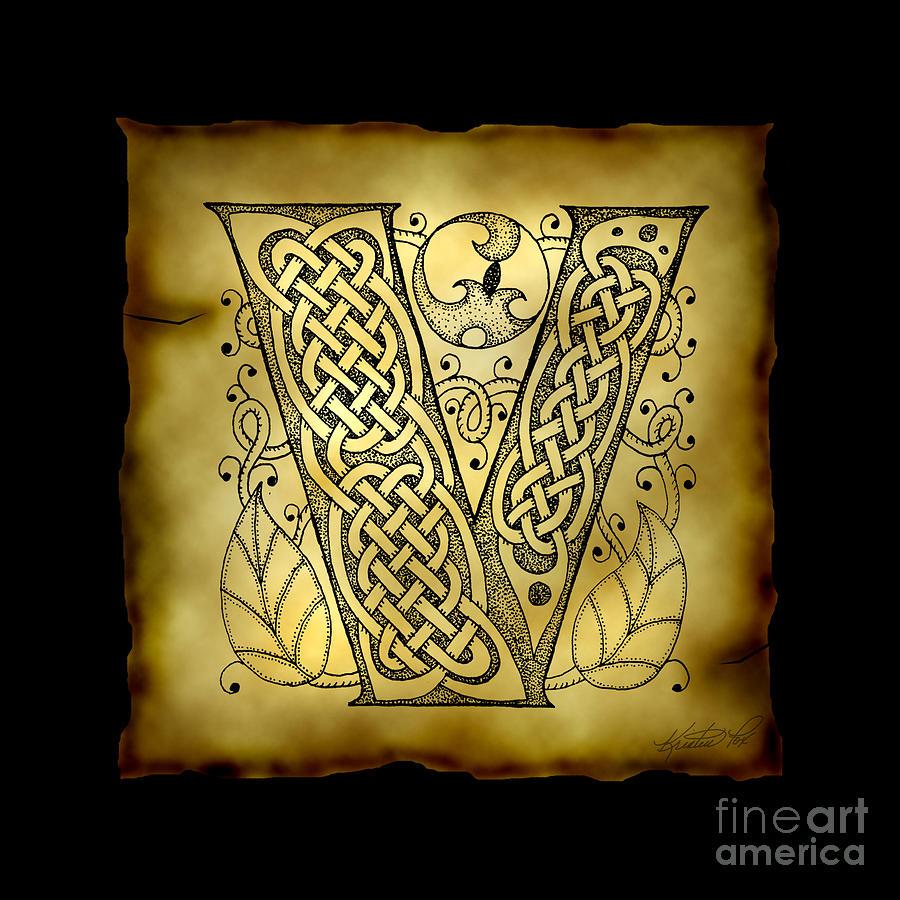 Celtic Letter V Monogram Mixed Media by Kristen Fox