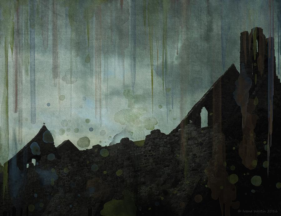 Dark Theme Painting - Celtic Ruins by Ivana Westin