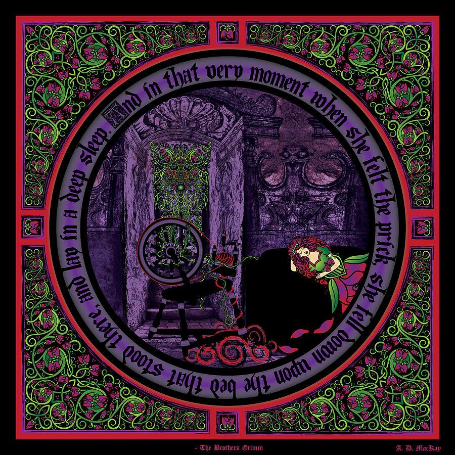 Fairy Tale Digital Art - Celtic Sleeping Beauty Part II The Wound by Celtic Artist Angela Dawn MacKay