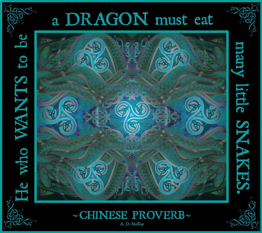 Snakes Digital Art - Celtic Snakes Mandala by Celtic Artist Angela Dawn MacKay