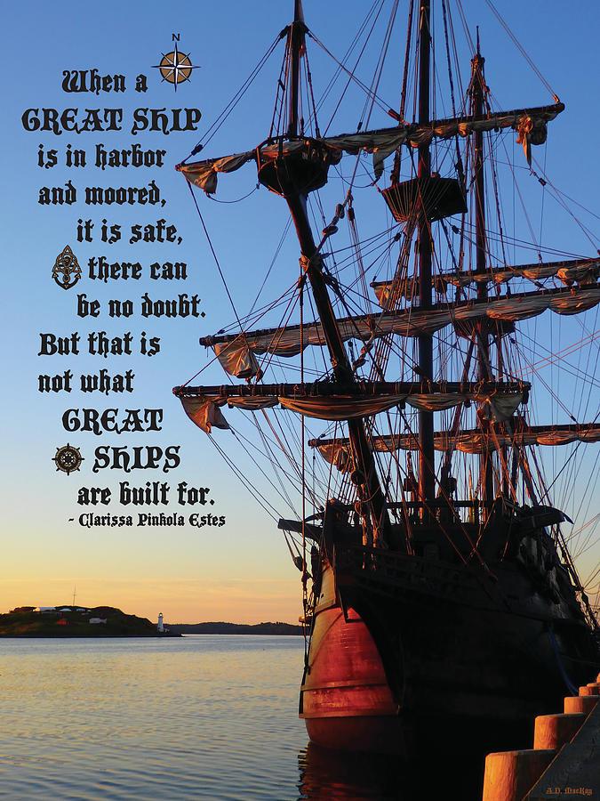Ship Digital Art - Celtic Tall Ship - El Galeon In Halifax Harbour At Sunrise by Celtic Artist Angela Dawn MacKay