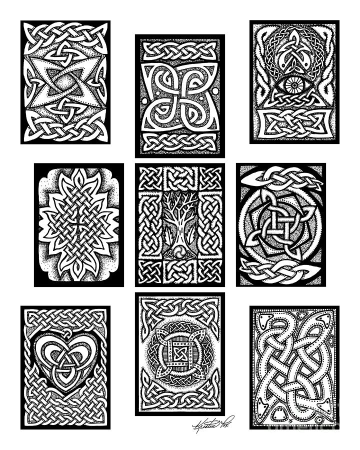 Celtic Tarot Spread Drawing By Kristen Fox