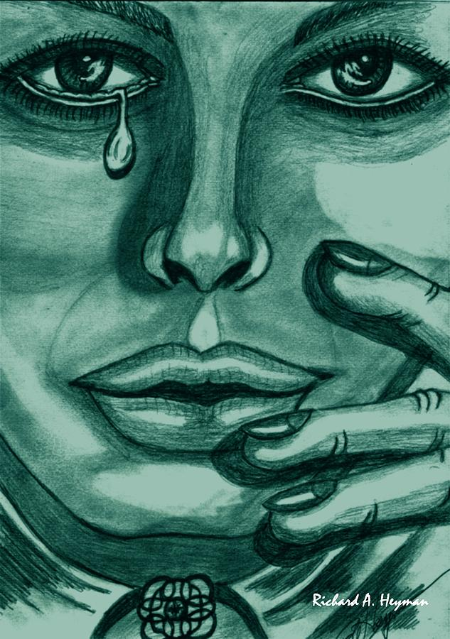 Female Painting - Celtic tears in green by Richard Heyman
