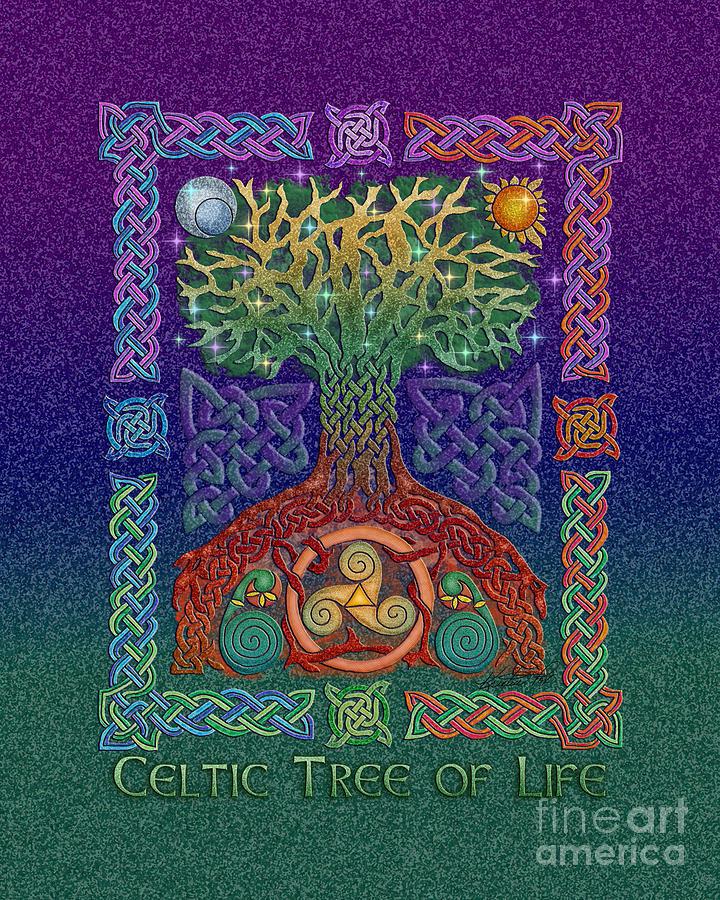 Artoffoxvox Mixed Media - Celtic Tree Of Life by Kristen Fox