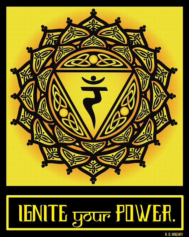 Yoga Digital Art - Celtic Tribal Solar Plexus Chakra by Celtic Artist Angela Dawn MacKay