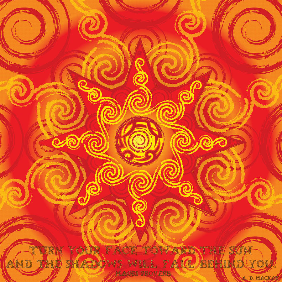 Sun Digital Art - Celtic Tribal Sun by Celtic Artist Angela Dawn MacKay