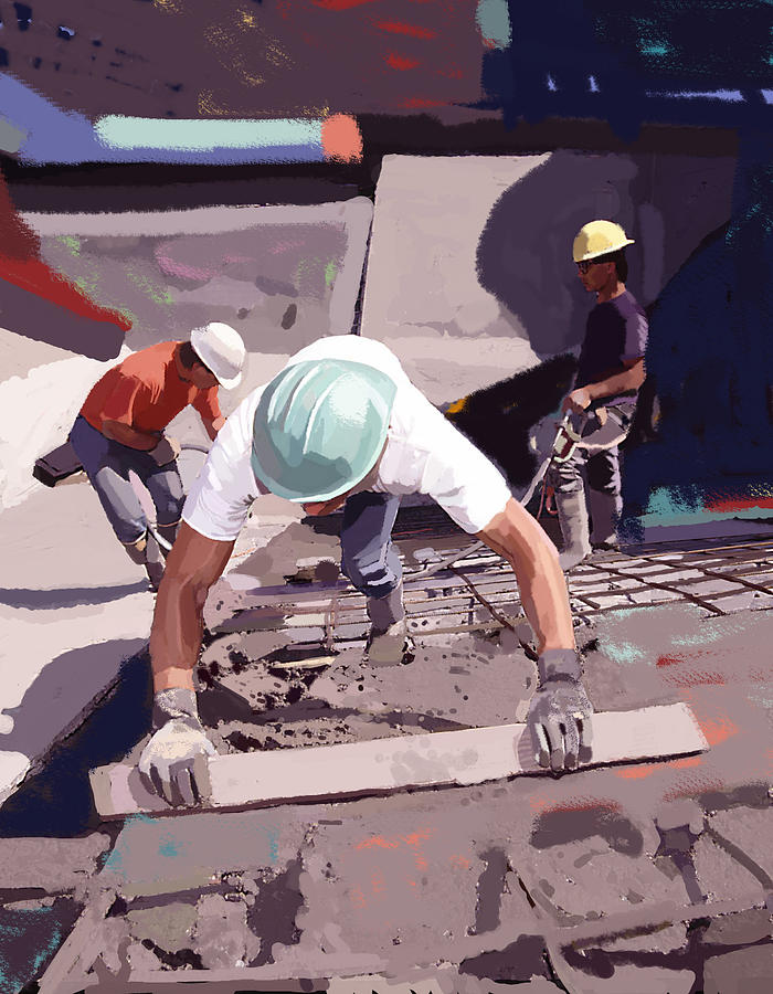 Bulldozers Painting - Cement And Rebar by Brad Burns