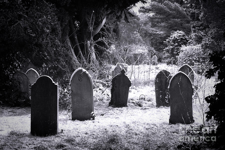 Ancient Photograph - Cemetery And Snow by Jane Rix