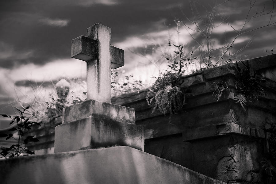 Big Easy Photograph - Cemetery Cross  by Giovanni Arroyo