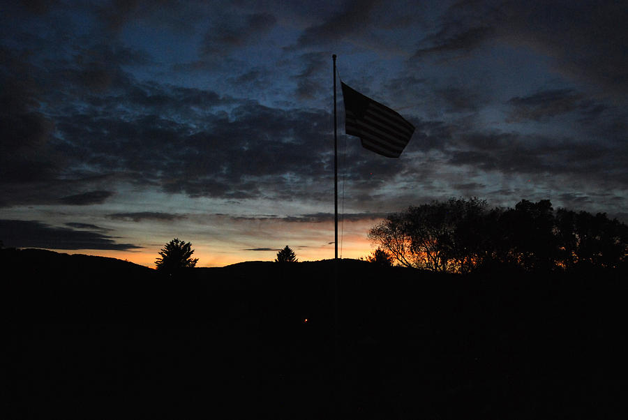 Sunset Photograph - Cemetery Flag 3 by Chet Zaffarano