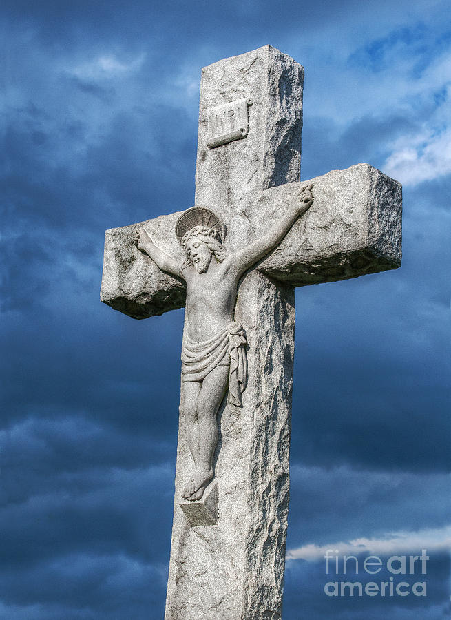 Power Of The Cross Photograph - Cemetery Statue Of Jesus by Randy Steele