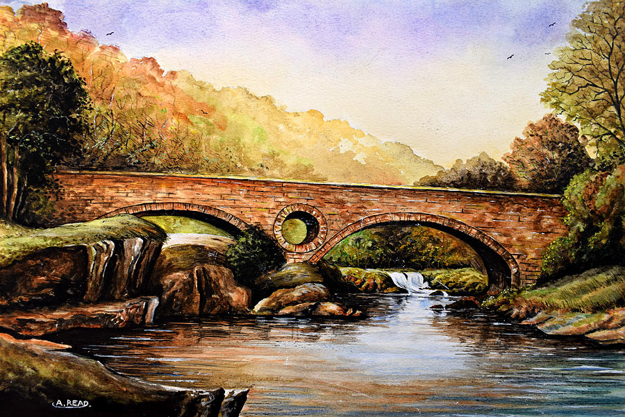 Landscapes Painting - Cenarth Bridge And Falls by Andrew Read
