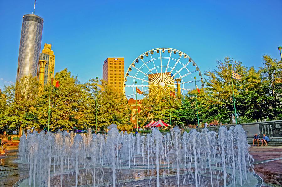 Atlanta Photograph - Centennial Fountains by David Campbell