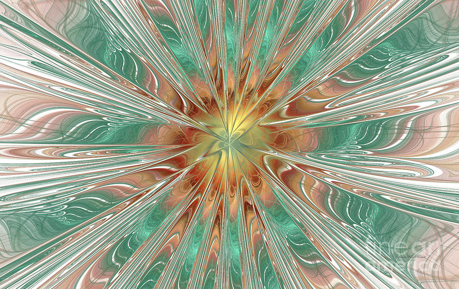 Digital Digital Art - Center Hot Energetic Explosion by Deborah Benoit