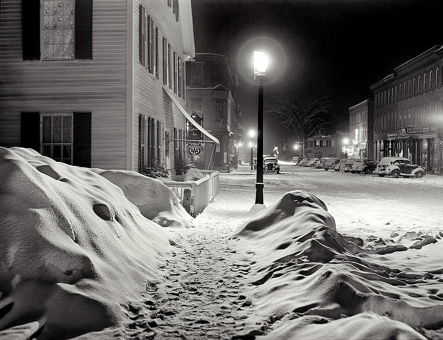 Center of town Woodstock  Vermont Medium format acetate negative by Marion Post Wolcott March 1939 Photograph by David Lee Guss