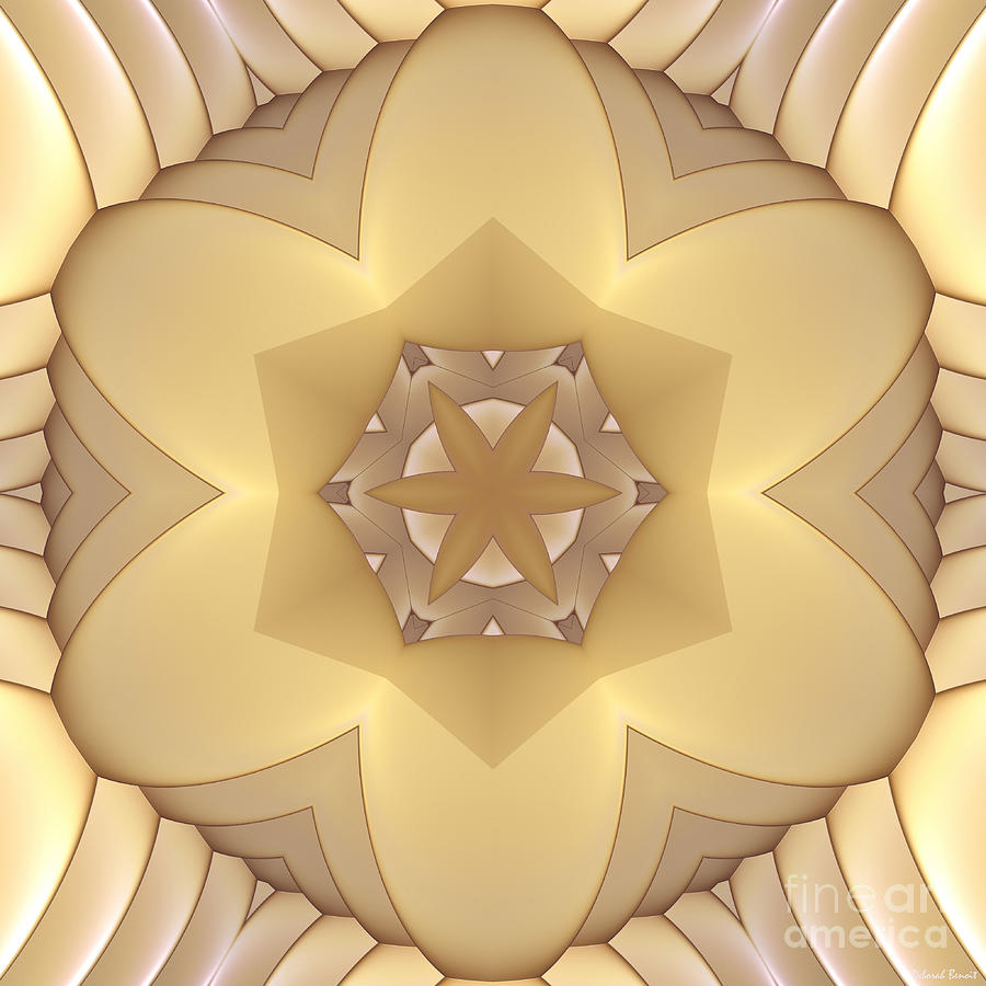 Fractal Digital Art - Center Star-flower by Deborah Benoit