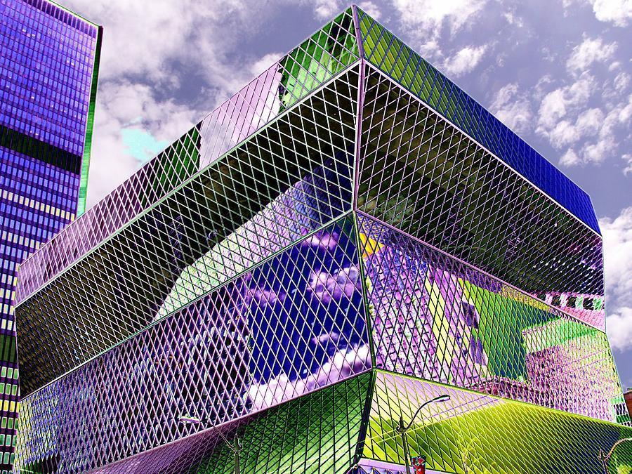 Seattle Digital Art - Central Library  Seattle by Tim Allen