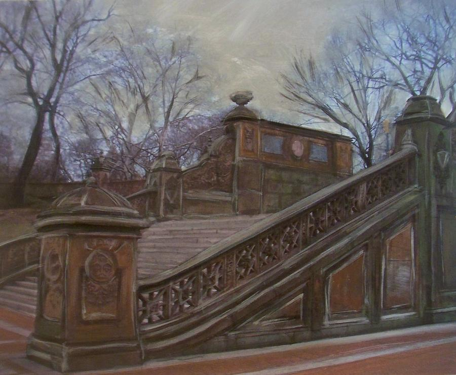 Central Park Painting - Central Park Bethesda Staircase by Anita Burgermeister