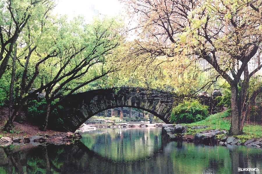 Central Park Digital Art - Central Park Bridge by Al Blackford