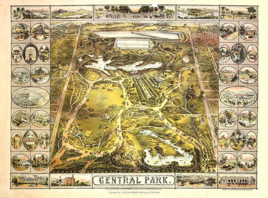 Central Park Mixed Media - Central Park Map, Manhattan New York, 1863 by Zal Latzkovich