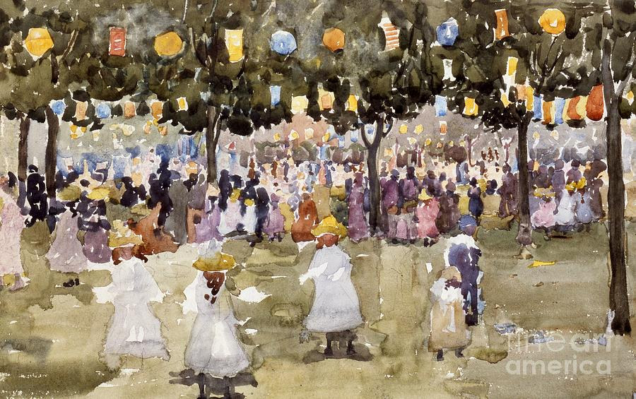 Central Park; Park; New York; Manhattan; Outdoors; Celebration; Summer; Summertime; Seasons; Independence Day; 4th July; Children; Lanterns; Decorations; Festive; Crowd; Crowds; Sketch; Atmospheric Painting - Central Park  New York City  July Fourth  by Maurice Prendergast