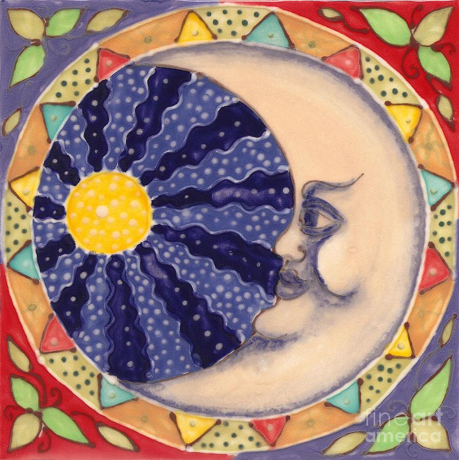 Moon Painting - Ceramic Moon by Anna Skaradzinska