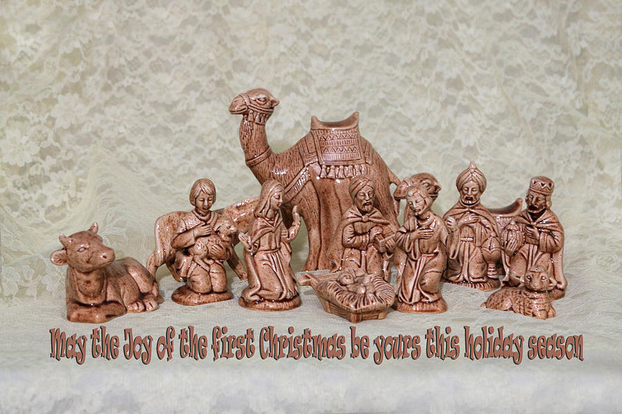 Holiday Photograph - Ceramic Nativity Scene by Linda Phelps